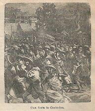 A1081 Vietnam - Una festa in Cocincina - Stampa Antica del 1911 - Xilografia