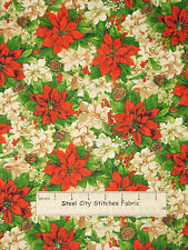Christmas Poinsettia Floral Fabric 100% Cotton By The Yard Deck The Halls #6184