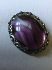 Vintage miracle brooch - Scottish Celtic Style, Purple Glass Agate, signed