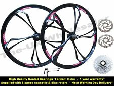 "26"" MTB Bike Magnesium Alloy Front Rear Disc Wheel Set + 8 Speed Cassette Rotor"