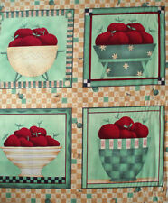 debbie mumm ~ vintage 1930's JADITE GREEN BOWL of APPLES ~ enamelware fabric