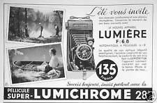 PUBLICITÉ APPAREIL LUMIÈRE F:6,8 PELLICULE SUPER LUMICHROME L'ÉTÉ VOUS INVITE