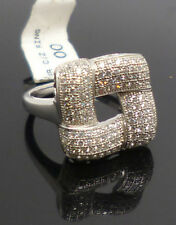 Sterling silver cubic zirconia set square design dress ring with 925 stamp