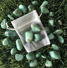 Amazonite - 3 tumbled stones with pouch - charged with Reiki