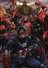 Mark Brooks SIGNED Marvel Comics Art Print ~ Avengers Hulk Captain America Thor