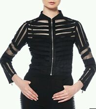 New! Gracia Mesh and Suede striped Jacket Size L/Black