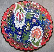 "Blue & Red 7"" Turkish Iznik Floral Pattern Handmade Raised Ceramic Plate"