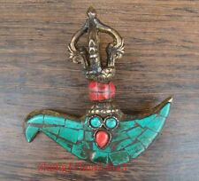 Antique Tibetan Bronze & turquoise & red coral Inlaid Handmade Buddhism Statue