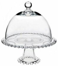 """10"""" Round Glass Cake Cupcake Cheese Plate w/ Dome Cover & Pedestal Footed Stand"""