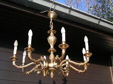 && Fantastic and nice ornated  vintage French 8lt bronze  chandelier  && LOOK !