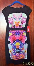 NWT Forenza Women Sleeveless Black Floral Cocktail  Festive Knee Dress Size 0