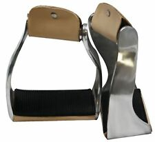 Showman Lightweight Twisted Angled Aluminum Stirrups with Wide Rubber Grip Tread