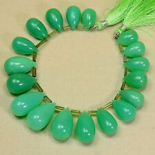 "336.9CT Large Australian Chrysoprase Smooth Teardrop Briolette Beads 7.5"" strand"
