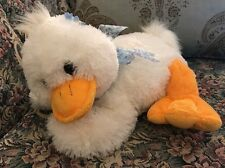 """Caltoy FUZZY White DUCK WITH Blue BOW Flower 14"""" Laying Plush Easter #A7"""