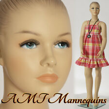 Child Female Mannequin, amt-mannequins, display girl hand made manikin-Hope+1Wig