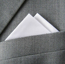 SUPERNOVA SCARVES White Silk 2 Point Carded Pocket Handkerchief Wedding Suit