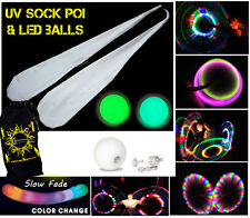 Sock Poi Set - Quality Glow UV Poi Socks +2x  Slow Fade LED Balls & Bag! (White)