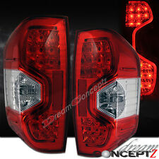 14-16 Toyota Tundra Pickup Truck LED Tail lights Red / Clear Lens Chrome Housing