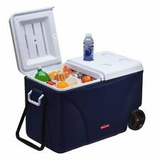 Rubbermaid 75 Qt Camping Picnic Ice-Chest Container Blue Rolling (5-Day Cooler)