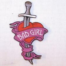 BAD GIRL DAGGER KNIFE EMBROIDERED PATCH P311  Iron on biker JACKET patches NEW