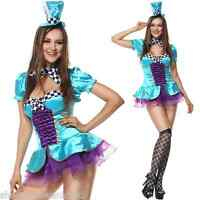 Ladies Sexy Totally Mad Hatter Alice in Wonderland Fancy Dress Costume Outfit