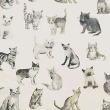Prestigious Textiles Cool Cats Charcoal Curtain Fabric-137 cm wide - £8.99 metre