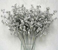 12 Baby's Breath ~ SILVER Gypsophila Silk Wedding Flowers Centerpieces Fillers
