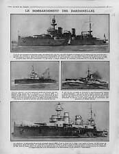 Bataille des Dardanelles campagne de Gallipoli Cuirassé le Gaulois War 1915 WWI