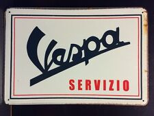 Vespa Servizio Metal Sign / Vintage Garage Wall Decor (30 x 40cm)