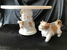 New Brown Cow Pig Sheep Dessert Cake Stand & Creamer Farmhouse Chic Mothers Day