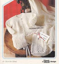 BABY JACKET,BONNET & SHAWL 4ply - birth to 12 months - baby crochet pattern