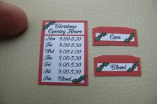 1/12th dolls house - CHRISTMAS SHOP OPEN/CLOSED SIGNS - SG