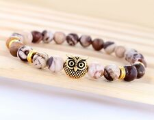 Fashion Mens Natural Mexican Crazy Agate Owl Head Yoga Beaded Elastic Bracelet