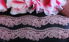 Pink color =  Vintage embroidery lace trim   - price for 1 yard