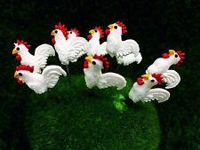 5 Terrarium Mini White Chicken Stake Miniature Dollhouse Fairy Garden