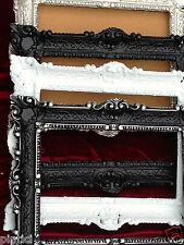 Bilderrahmen Schwarz mit Glas Barock 56x46 Fotorahmen Antik 30x40 Spiegelrahmen