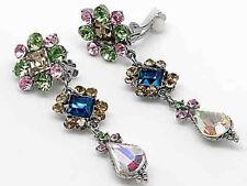 34V Vintage Victorian Multi Color Crystal Swarovski Elements Clip on Earrings