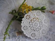 "4"" INCH VTG SNOWFLAKE LACE ROUND SOFT IVORY OFF WHITE PAPER LACE DOILIES 10 PCS"