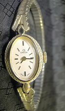Pretty Ladies Omega 10 K Yellow Gold Filled Oval Wind Up Vintage Watch Amoco