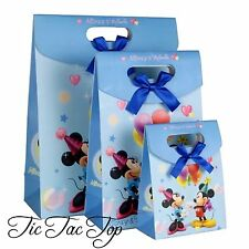 6 X Mickey Minnie Mouse Blue Card Paper LOOT LOLLY GIFT BAGS Party