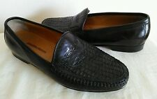 JOHNSTON & MURPHY MEN'S Black WOVEN LEATHER LOAFERS SLIP- ON Shoes Size 8.5