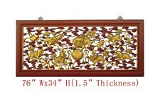 Chinese Red Gold Nine Foo Dogs Chasing Ball Carve Long Wall Screen Panel WK2894