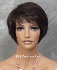 100% Human Hair SHORT Body Wavy WIG Black Auburn Mix Perma Tease Crown ufa 1B-30