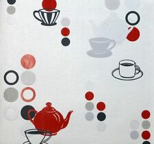 Kitchen Love Quality Textured, Red Teapots ,Circles, Free Wallpaper Paste