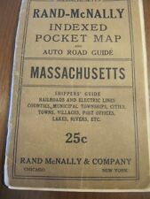 SCARCE RAND MCNALLY ROAD GUIDE POCKET MAP OF MASSACHUSETTS CA 1900 BOOKLET