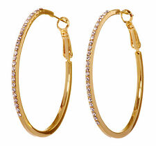 "Swarovski Elements Crystal 2"" Moonlight Hoop Pierced Earrings Gold Plated 7234w"