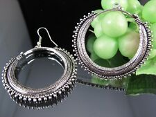 Ethnic Miao Tibet Silver Circle Pattern Dangle Earrings T341