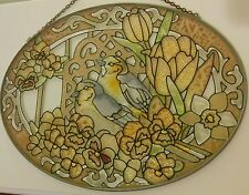 Vintage Oval Stained Glass Sun Catcher Yellow Bird Sparrow Floral Design 8 7/8""