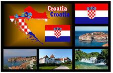 KROATIEN MAP / FLAGGE / SEHENSWÜRDIGKEITEN - SOUVENIR NEUHEIT KÜHLSCHRANK-MAGNET