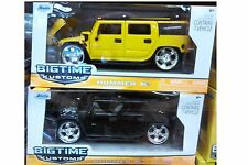 Pack of 2 Hummer H2 SUV Truck Diecast Car 1:24 Jada Toys 8inch Yellow Black